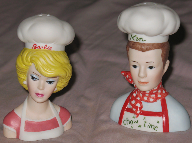 Barbie & Ken Chefs Salt and Pepper Shakers :  salt limited edition shaker ken