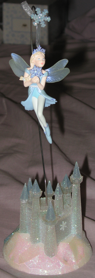 Faerie Gabriella and Faerie Castle Ornament Stand :  blue mythical collectable elegant